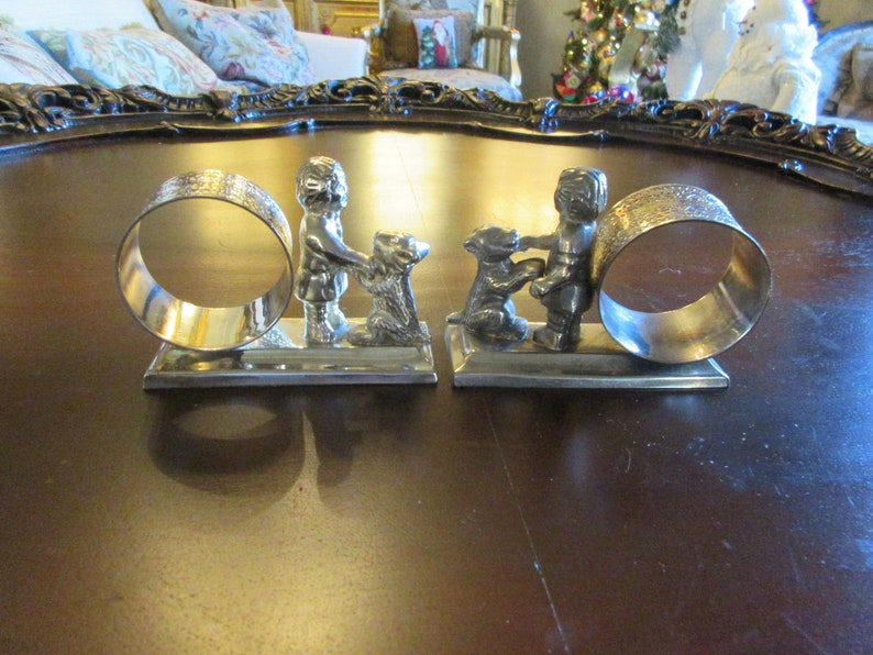 NAPKIN HOLDERS with Little Boys and Dogs