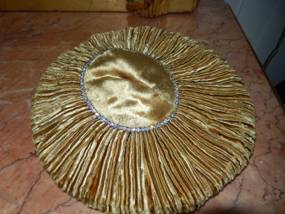 Vintage Hand Made Gold Velvet Hat