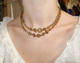 OLIVE GREEN And GOLD Necklace