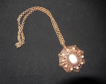 COPPER FILIGREE NECKLACE with Peach Stone with Copper Specks