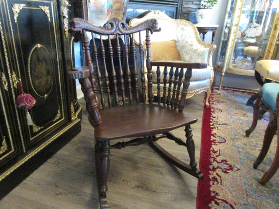Stickley And Brandt Rocking Chair With Dolphins Etsy