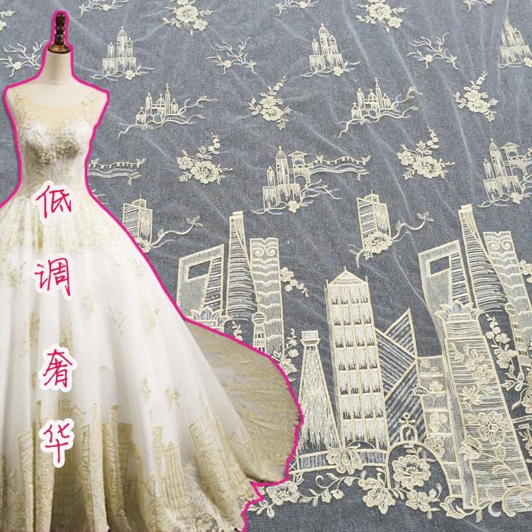 Tissu de luxe de d'or, dentelle d'or, de paillettes matériau de dentelle, dentelle de robe de mariage en or 5a6d61