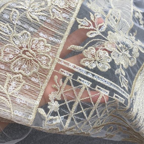 Tissu luxe de luxe Tissu de dentelle d'or, paillettes matériau de dentelle, dentelle de robe de mariage en or 791361