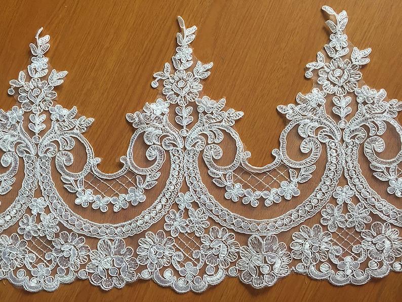 SALES Sell By Yard Alencon Lace Trim White Floral Alencon image 0