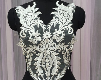 Sequined Embroidery Lace Applique For Bridal Wedding Dress Front Bodice, Sell By piece