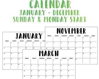 Printable 2018 12 Month Calendar