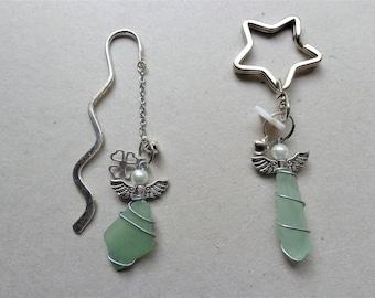 Green sea glass necklace bracelet set unisex men leather mermaid coastal surfer beachglass dangling oceean beach lover wedding jewelry