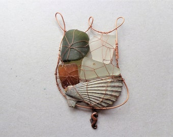 054d2250053 Tulip beach glass and copper suncatcher, upcycled seaglass and shell  ornament rustic coastal garden art home decor, Father's day gift