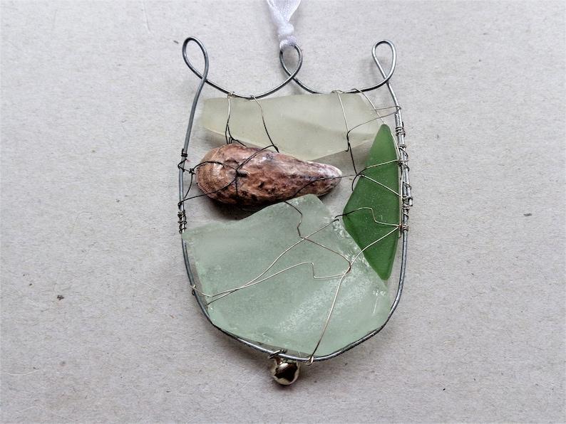 Sea glass suncatcher Christmas gift coastal garden art home decor upcycled white green rustic beach find spring tulip shaped ornament