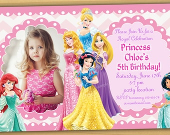 Sale Disney Princess Birthday Invitation Girls Digital File