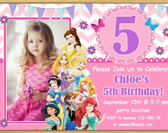 sale disney princess birthday invitation disney princess invitation princess invitation girls birthday invitation digital file
