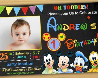 Sale Mickey Mouse 1st Birthday Invitation Clubhouse