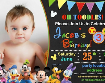 SALE Mickey Mouse Birthday Invitation Clubhouse
