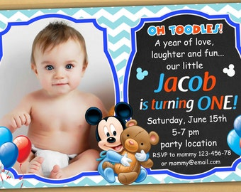 SALE Mickey Mouse 1st Birthday Invitation First Baby