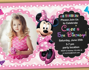 SALE Minnie Mouse Birthday Invitation Chalkboard New 2