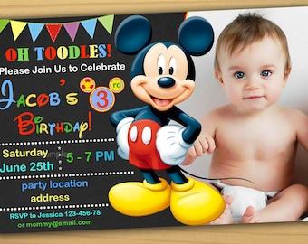 Mickey Mouse Birthday Invitation Etsy