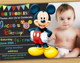 SALE, Mickey Mouse Birthday Invitation, Mickey Mouse Clubhouse Birthday  Invitation, Mickey Mouse Clubhouse Invitation   Digital