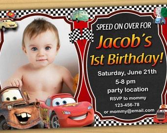 SALE Disney Cars Birthday Invitation