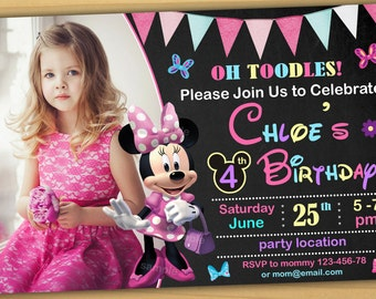 SALE Minnie Mouse Birthday Invitation Chalkboard Digital File