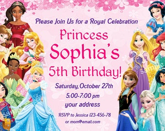 SALE Disney Princess Birthday Invitation Twins Digital File