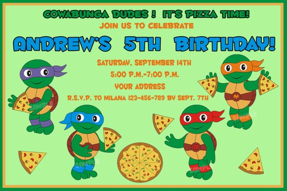 Tmnt Birthday Invitation Ninja Turtles Birthday Invitation Etsy