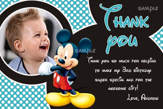 Mickey Mouse Thank You Card Mickey Mouse Card Digital File Etsy