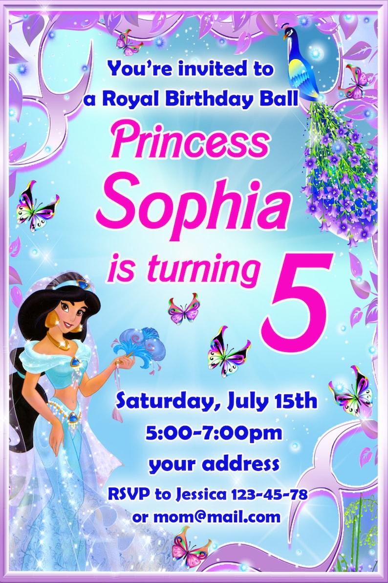 SALE Princess Jasmine Birthday Invitation