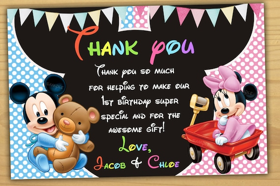 Mickey Mouse 1st Birthday Thank You Card Mickey Mouse Baby Etsy