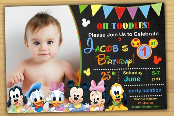 Mickey Mouse 1st Birthday Invitation Clubhouse