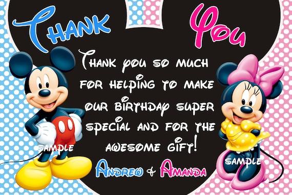 Bedankkaart Mickey Mouse Minnie Mouse Bedankkaart Tweeling Etsy