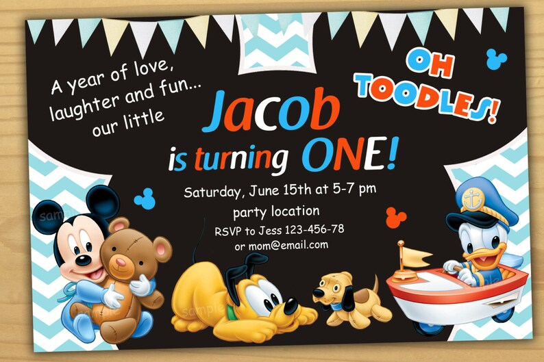 Mickey Mouse 1st Birthday Invitation First