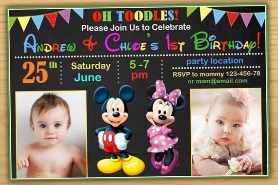 Mickey I Minnie Urodziny Zaproszenie Klub Przyjaciół Myszki Etsy
