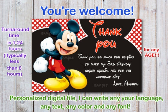 Mickey Mouse Thank You Card Mickey Mouse Custome Order Etsy