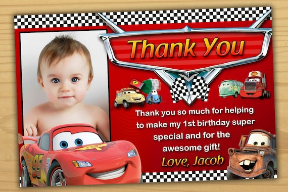 Disney Cars Thank You Card Birthday