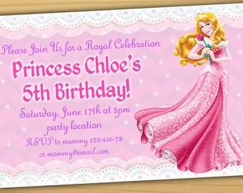 Sale Aurora Birthday Invitation, Princess Aurora Invitation, Princess Aurora birthday invitation - Digital file