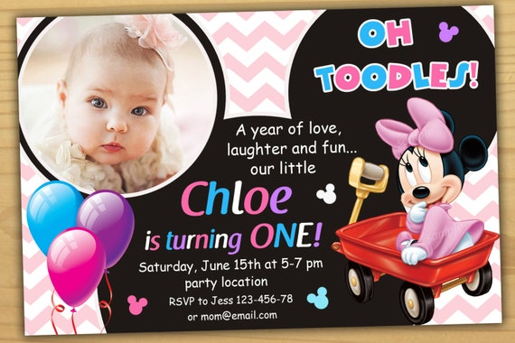 Sale Minnie Mouse 1st Birthday Invitation Minnie Mouse First Etsy
