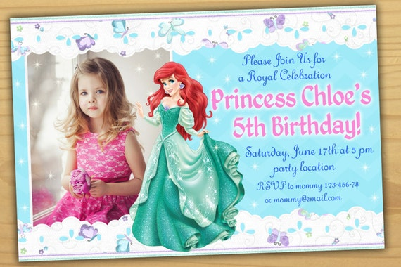 SALE Ariel Birthday Invitation Princess