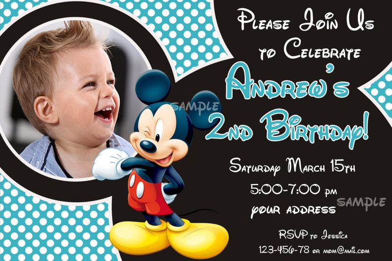 SALE Mickey Mouse Birthday Invitation