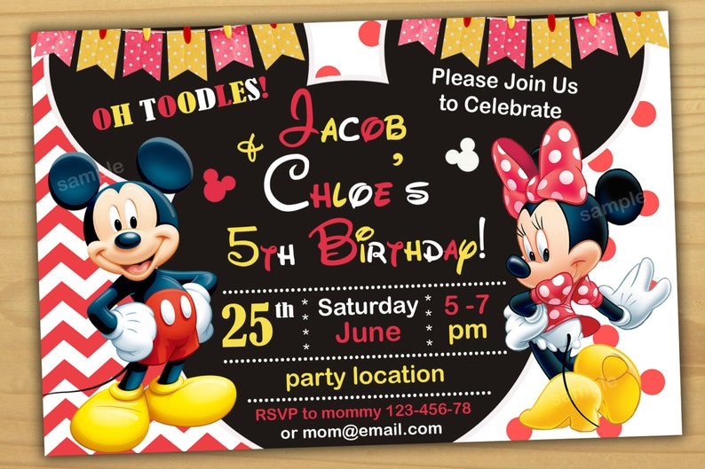 Mickey And Minnie Mouse Birthday Invitation