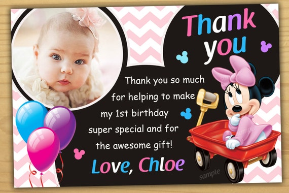 Minnie Mouse 1st Birthday Thank You Card Minnie Mouse Baby Etsy