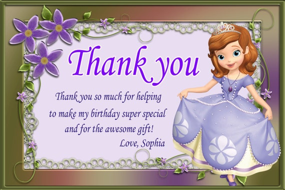Sophia The First Thank You Card Princess Sofia Thank You Etsy