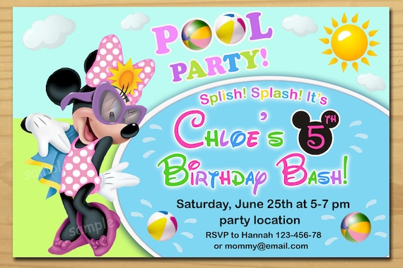 minnie mouse pool party invitation minnie mouse summer etsy