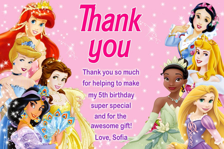 Disney Princess thank you card Princess thank you card | Etsy