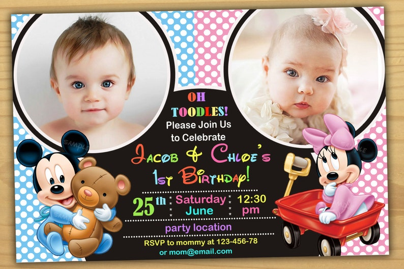 SALE Mickey Mouse 1st Birthday Invitation And Minnie