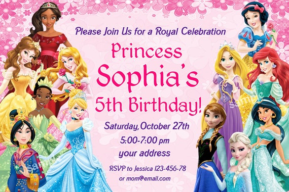 Sale Disney Princess Birthday Invitation Disney Princess Etsy