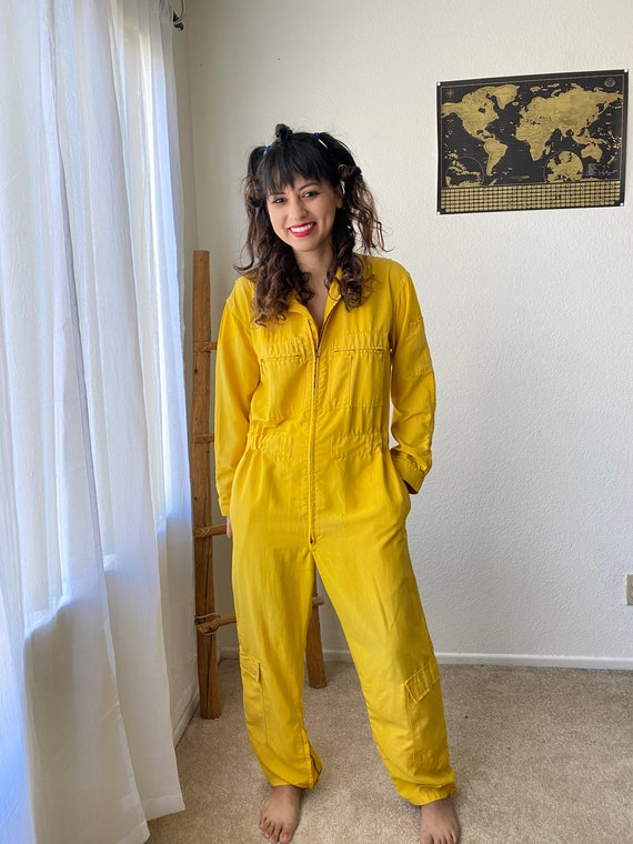 Vintage 90's yellow jumpsuit size large Lots of po