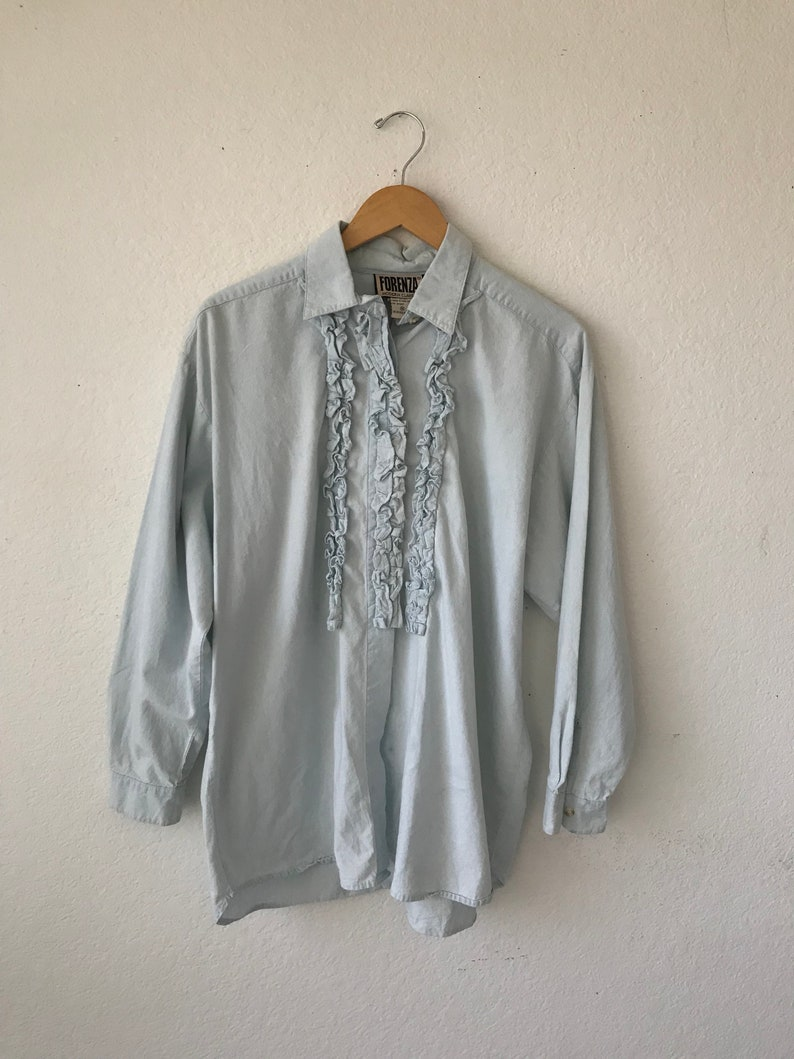 SALE~~~~90/'s blue blouse  large long sleeve medium shirt oversize fit loose blouse