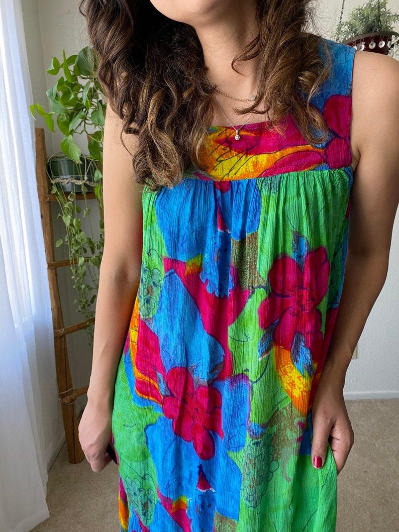 90\u2019s vibrant pullover dress muumuu dress  Oversize small 1990\u2019s dress floral print