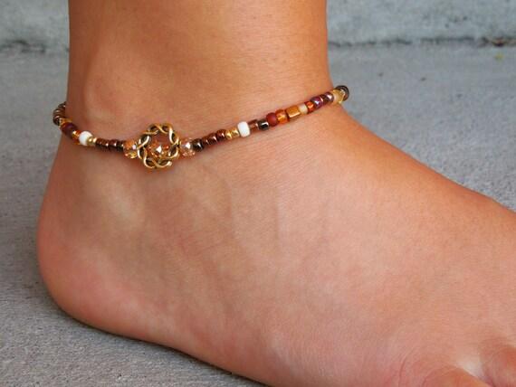 Brown Anklet Glass Anklet Handmade Earthtone Czech Crystal Beaded Anklet Custom Anklets