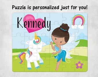 Personalized 8 x 10 Puzzle Baby Unicorn Puzzle Fairy and Unicorn Puzzle Personalized Name Puzzle Personalized Children Puzzle